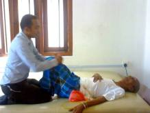 Physiotherapy session for a stroke patient
